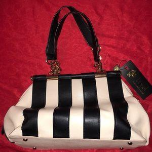 NWT Cute Lionel black/cream striped purse